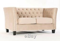 Moderne Chesterfield Canapé Lit 2 Places Crème Velours Tissu Couch Lendemain Del