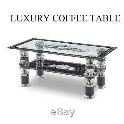 Moderne En Verre Trempé Table Basse Clair Noir Table Avec Plateau Salon Du Royaume-uni