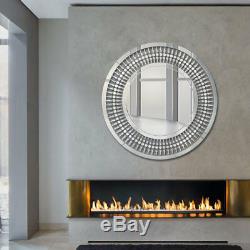 Moderne Unique 3d Sunburst Tout Verre Mur Ronde De Venise Miroir Boudoir Salle