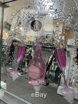 Moet Champagne Et Des Flûtes Art Paillettes 3d Image Miroir, Cadre Mirrored