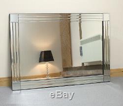 Molly Argent En Verre Avec Cadre Rectangulaire Biseautées Mur Miroir Extra Large 120x80cm