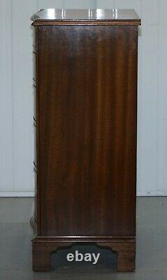 Nice Flamed Ahogany Bevan Funnell Serpentine Fronted Tall Boy Chest Of Drawers