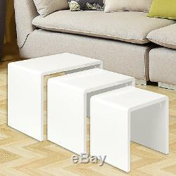 Nid Moderne De 3 Tables Basses, Table De Bout Latérale, Salon De Couleur Blanche