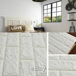 Nouveau 3d Tile Brick Wall Sticker Auto-adhésif Panneau De Mousse Imperméable Blanc 6030cm