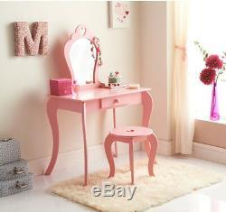 Nouveau Pour Enfants En Bois Rose Amelia Vanity Set / Coiffeuse Avec Tabouret Et Miroir