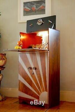 Noyer MID Century Cocktail Bar Boissons Cabinet Gin Art Déco Sunburst