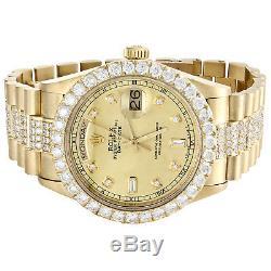 Or Jaune 18 Carats Mens Rolex Présidentielle Prong Diamant Day-date Montre 36mm 8 Ct