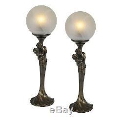 Pair / Art Deco / Nouveau Lampes De Table 44.5cm Amoureux Figurines Abat-jour En Verre + Ampoules