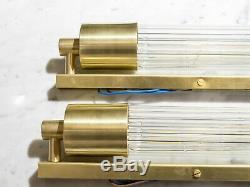 Paire De Art Déco Skycraper Style Appliques Sconces Lampe. Laiton Et Verre