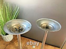 Paire De Chrome Art Déco & Opaline Glass Light Sphere Shades Ceiling Rose & Pole