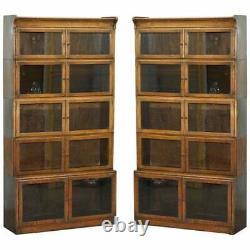 Paire De Circa 1900 Oak Modulaire Minty Oxford Antique Staling Bibliothèques Juridiques