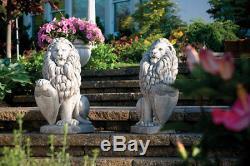 Paire De Lion Avec La Statue Shield Jardin De Ciment Extérieur