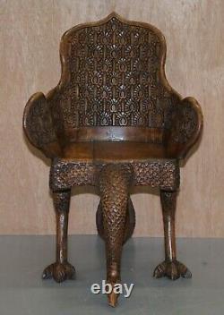 Paire De Main Indienne Anglo-birmane Ornée Sculptée Vers 1880 Fauteuils De Paon