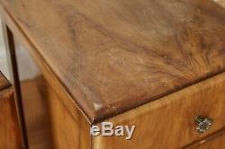 Paire De Noyer Art Déco De Chevet Armoires Tables Basses Retro Vintage Milieu Du Siècle