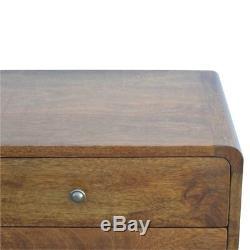 Paire De Tables De Chevet / D'appoint De Style Art Déco À Bord Incurvé En Bois Foncé