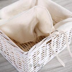 Paire De Tables De Chevet En Bois Shabby Chic, Tiroirs Blancs Et Armoire À Paniers En Osier