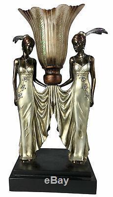 Paire / Lampes De Table Art Nouveau / Déco H52cm Twin Lady Figurines Nuances En Résine
