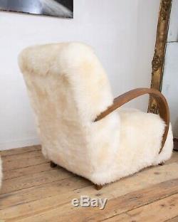 Paire Vintage Design Art Déco Ivoire Blanc Sheepskin Fauteuil Bentwood