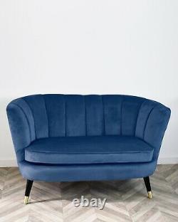 Pétoncles Back Upholstered Velvet Sofa Loveseat Settee Accent Occasional Blue