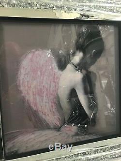 Photo D'art De Paillettes Ballerina Angel Dans Un Cadre En Cristal Écrasé, Avec Verre Effet Miroir