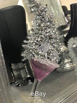 Photo En Miroir De Paillettes 3d De Champagne Et De Verre À Cocktail Rose