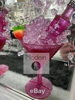 Pink Gin Et Fraise Verre Cocktail Art Paillettes 3d Image En Miroir