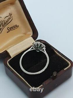 Platinum Emerald & Diamond Ring Art Déco Style Taille O