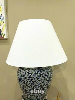 Ralph Lauren Home Pot À Gingembre De Porcelaine Floral Lampe Grande Main Rare Peinte À La Main Mw3