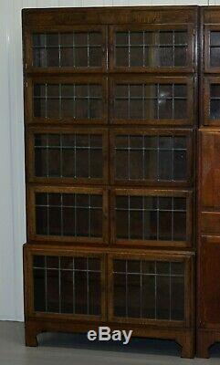 Rare 1900 Minty Oxford Oak Bibliothèque Stacking Bibliothèques Suite Bureau Globe Wernicke