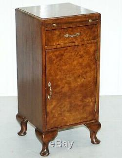 Rare 1920 Art Déco Ronce De Noyer Table D'appoint Avec Butlers Plateau Et Tiroir
