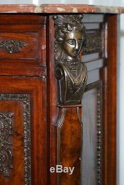 Rare 19ème Siècle Louis Noyer Enfilade Tiroirs Marbre Haut Mounts Bronze