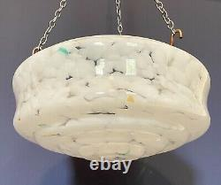 Rare Art Deco 1930s Effet Marbre Verre Pendentif Plafond Ombre Claire Mouchecatcher