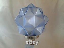 Rare Art Déco Exquis Walther Söhne Blue Satin Verre Rotterdam Lampe Rewired