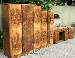Rare Art Déco Noyer 4 Piece Bedroom Set Facettes Incroyable Nous Livrons