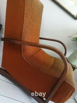 Rare Bentwood Banana Armchair Rocking Chair 1930's Halabala Art Déco Style