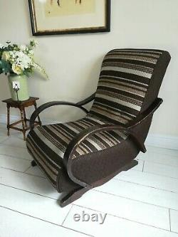 Rare Bentwood Banana Fauteuil Rocking Chaise Signé C Perry 1954 Style Halabala