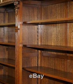 Rare Dutch Sculpté À La Main En Chêne Massif Triple Banque Bibliothèque Bibliothèque Entièrement Démantèle