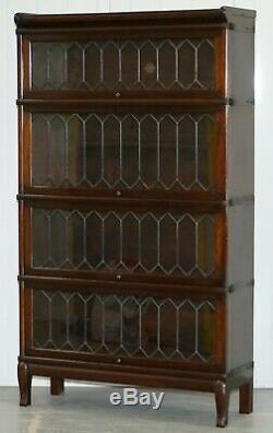 Rare Globe Bibliothèque De Bibliothèque Légale Empilable En Acajou Et Plomb Doublé De Verre Wernicke