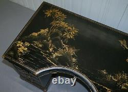 Rare Victorian Chinoiserie Japanned Black Laqured Twin Pedestal Partner Desk
