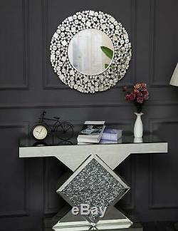 Rdd Jewel Sunburst Gros Diamant Éclat Miroir Mural Ronde Bling Art Déco 90cm