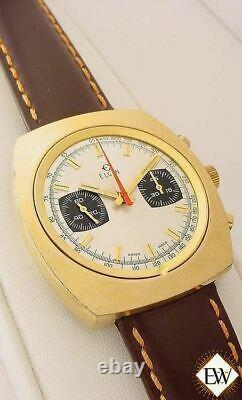 Rénové Vintage 1970 Chronographe Elgin Valjoux 7733 Gold Plate Panda Watch