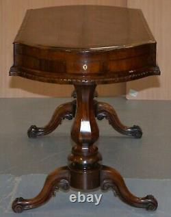 Restauré Tôt Victorien Rosewood Bagatelle Table Ornée Jeux De Pub Sculptés