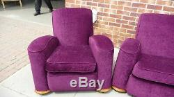 Rétro Années 1930/1940 Style Art Déco Trois Piece Lounge Suite Canapé Canapé Violet