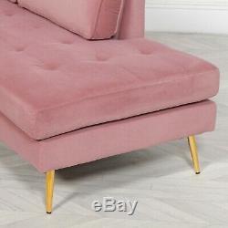 Rétro Style Art Déco Velours Rose Méridienne Avec Les Jambes D'or Lounge Day Bed