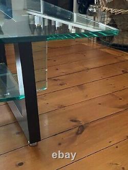 Roche Bobois Table À Café En Verre Avec Inserts En Bois Excellent État