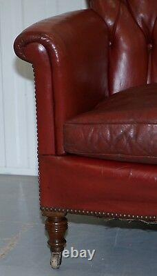 Rod Stewart Essex Home Howard & Son's Victorian Blood Red Leather Fauteuils