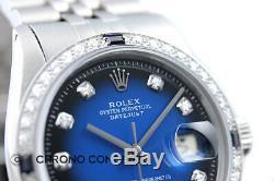 Rolex Datejust En Or Blanc 18 Carats Et Acier Inoxydable Bleu Vignette Diamond Watch