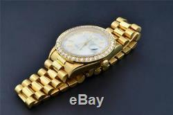 Rolex Day-date Président Or Jaune 18 Carats Personnalisé Diamond Watch Bezel 36mm