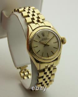 Rolex Lady President Oyster Perpetual Heavy 14k Gold Jubilee Bracelet Vtg Estate