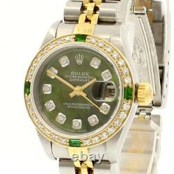 Rolex Oyster Perpetual 18k & Steel Datejust 26mm Green Mop Dial Diamond Watch